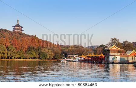 Chinese Wooden Recreation Boats And Pagoda