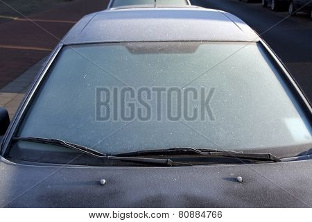 Frost On Windscreen In Winter