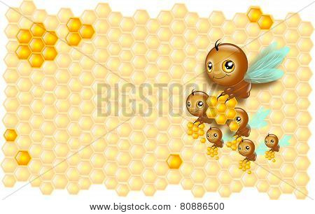 Small Bees Carrying Honey