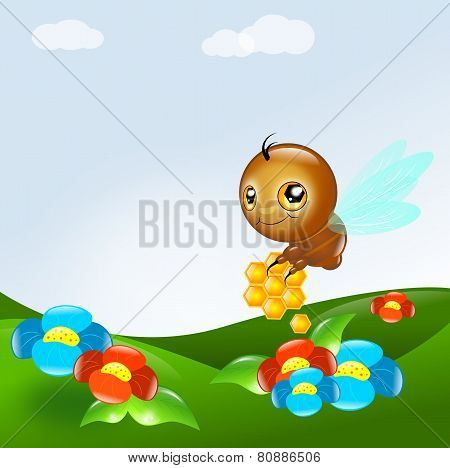 Bee With Honey In Landscape