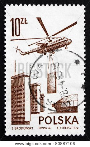 Postage Stamp Poland 1976 Mi6 Transport Helicopter