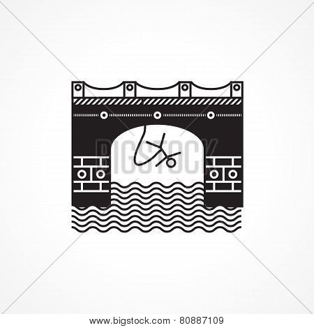 Black flat vector icon for rope jumping