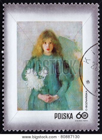 Postage Stamp Poland 19719 Girl With Chrysanthemums,  By Olga Bo