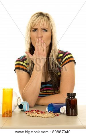 Woman With Pills Hand Over Mouth Looking