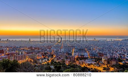 Panorama of Barcelona before sunset
