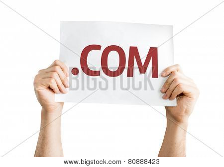.COM card isolated on white background