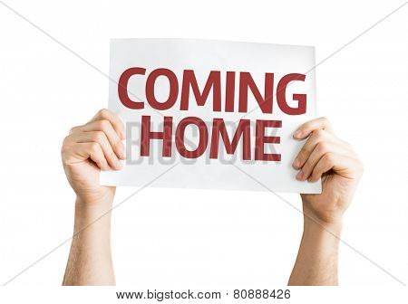 Coming Home card isolated on white background