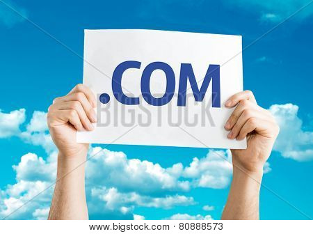 .COM card with sky background