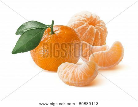Mandarin And Peeled Slices Group Isolated On White Background