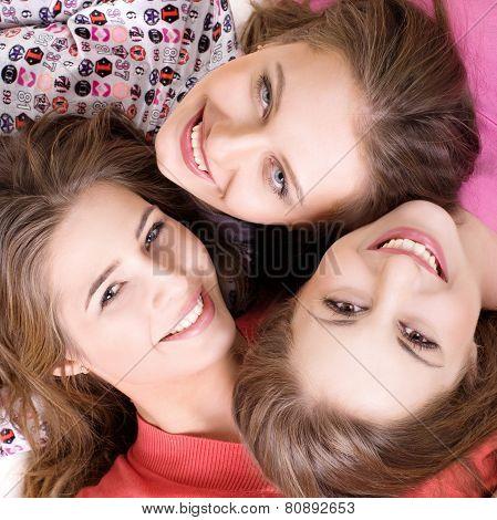 Portrait of three  happy girls