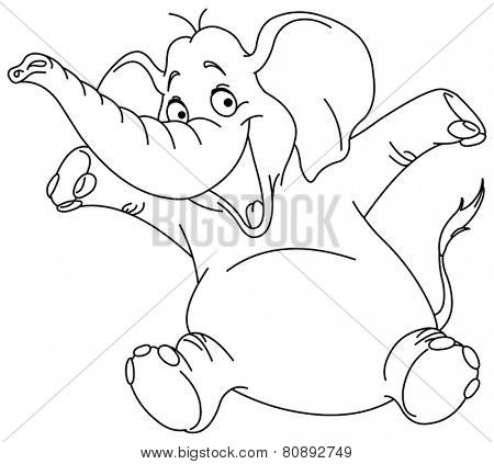 Outlined cheerful elephant raising his hands. Vector illustration coloring page.