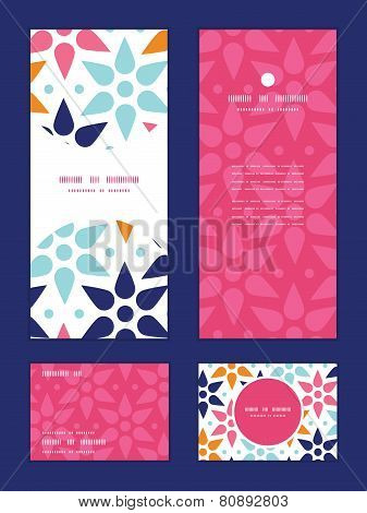 Vector abstract colorful stars vertical frame pattern invitation greeting, RSVP and thank you cards