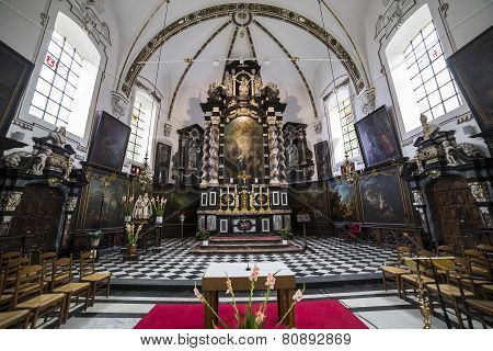 Interiors of sainte anne chrurch, Bruges, Belgium