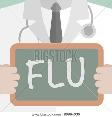minimalistic illustration of a doctor holding a blackboard with Flu text, eps10 vector