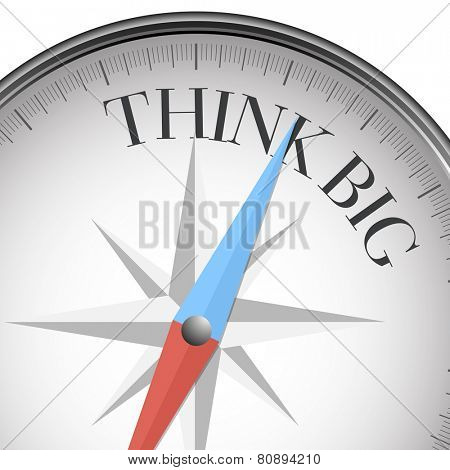 detailed illustration of a compass with think big text, eps10 vector