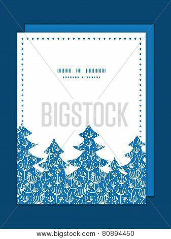 Vector blue white lineart plants Christmas tree silhouette pattern frame card template