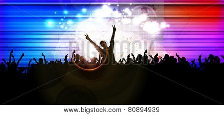Dancing people. Concert. Vector