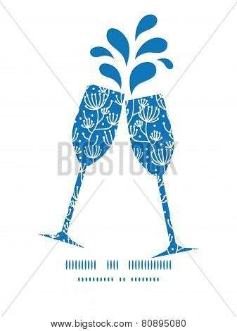 Vector blue white lineart plants toasting wine glasses silhouettes pattern frame