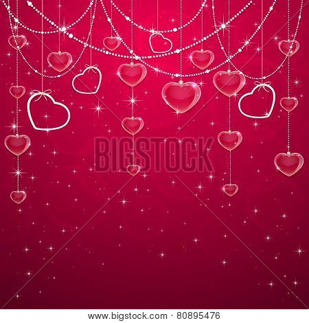Pink Valentines Decoration With Hearts