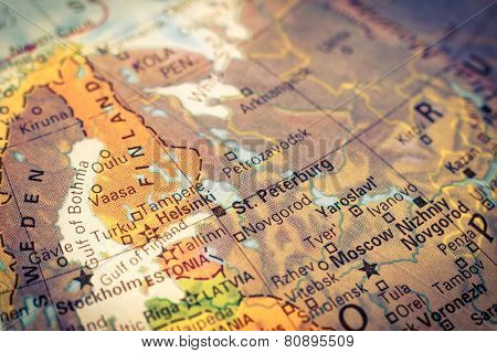 Map Russia and Finland .  Close-up macro image of Russian map . Selective focus on St.Peterburg