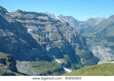 Peaks Nearby Kleine Scheidegg In Alps In Switzerland