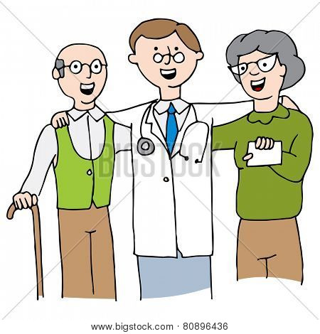 An image of a doctor with his elderly patients.