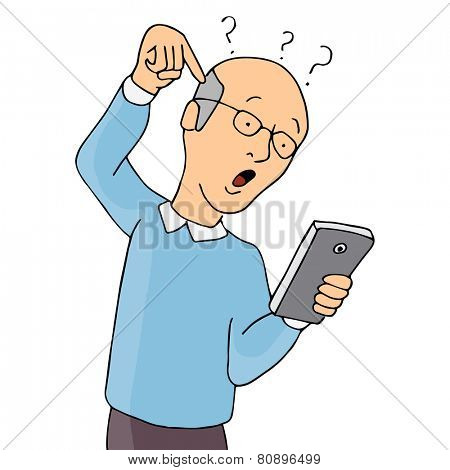 An image of a senior confused with using a smart phone.