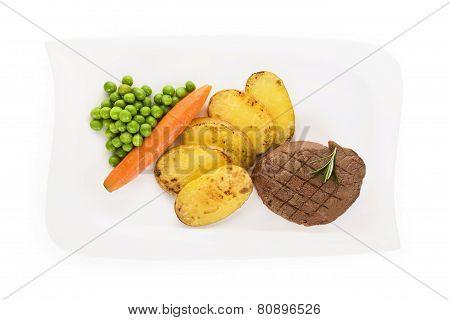 Mignon Steak On Plate, Top View.
