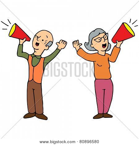 An image of two seniors yelling through a bullhorn.