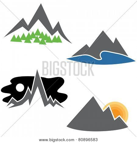 An image of a abstract mountain range set.
