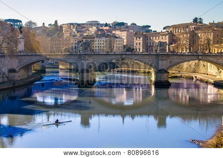 View Of A Bridge Over The Tiber In Rome