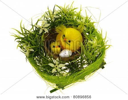 An isolated Easter table decoration