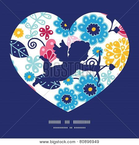 Vector fairytale flowers shooting cupid silhouette frame pattern invitation greeting card template