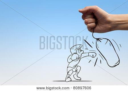Funny caricature of boxer man hitting punchball