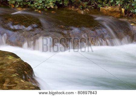 Waterfall in the Natural Park of the Monasterio de Piedra, Zaragoza, Aragon, Spain.