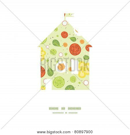 Vector fresh salad house silhouette pattern frame