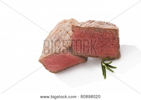 Big Steak Isolated On White. BBQ eating.
