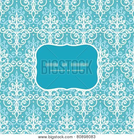 Vector light blue swirls damask frame seamless pattern background