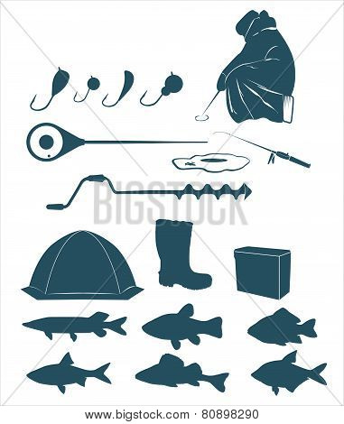 Winter fishing icons