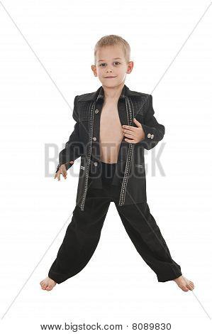 Adorable little Boy Tat, als ein rockstar