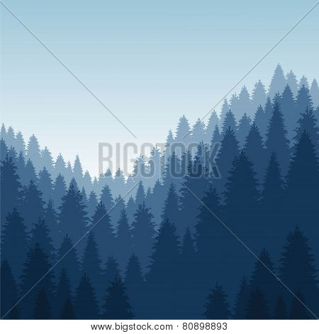 vector landscape with forest