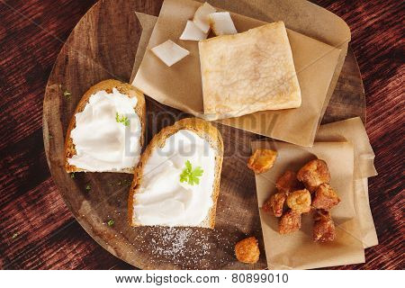 Pork Scratchings, Bacon And Bread With Lard Spread.