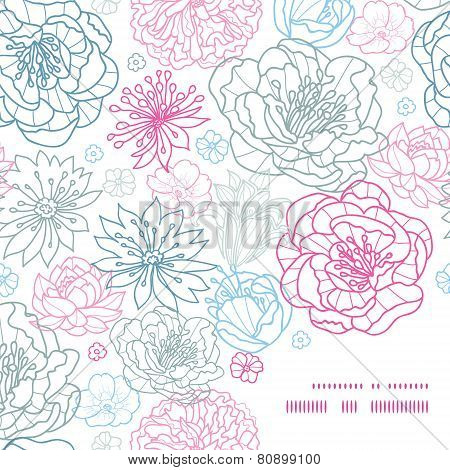 Vector gray and pink lineart florals frame corner pattern background