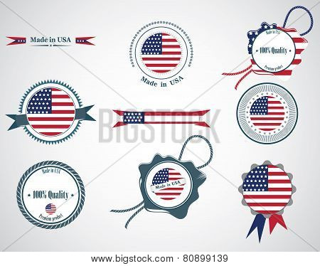 Made in USA - set of seals, badges.