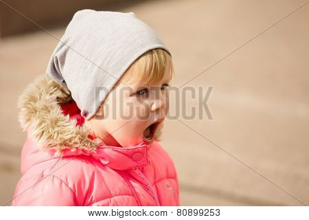 attractive little girl on outdoor