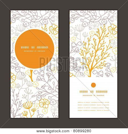 Vector magical floral vertical round frame pattern invitation greeting cards set
