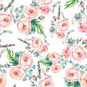 pic of blue rose  - Hand drawn watercolor floral  seamless pattern with tender pink roses in vector on the light blue background - JPG