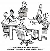 image of swot analysis  - The business team is conducting a SWOT analysis and as part of identifying their weaknesses do not look at the boss - JPG