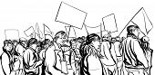 stock photo of crowd  - Protesters crowd walking in a demonstration  - JPG