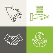 image of coin bank  - Vector finance and banking icons and logos in outline style  - JPG